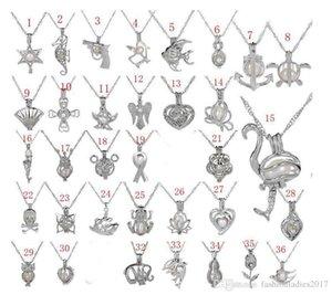Hot Gaiola de Pérolas Pingente de Colar Com Pérola Ostra 36 Projeto Moda Desejo Amor animal oco Medalhão Clavícula Cadeia de pérolas Colares jóias