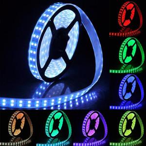 Tiras flexibles impermeables Luz LED Tiras RGB Doble fila 5M 5050SMD 600LEDs RGB Luz de tira LED + 44Key IR Remote + 5A Fuente de alimentación