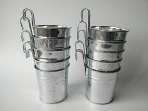 Gros-10Pcs Tenture murale Seau galvanisé Silvery Metal Plant Pots de fleurs Hanging Wedding Tub pot de balcon vertical