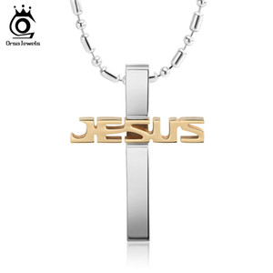 ORSA Black Gold Stainless Steel Jesus Cross Pendant Necklaces Long Chain Men Religious Jewelry Accessories for Men Best Gift GTN03