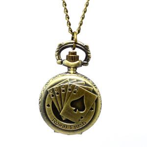 Wholesale 100pcs lot Quartz watches Necklace Chain Bronze pocket watches PW054