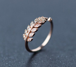 925 Sterling Silver Plate Ring Abrir Rose Banhado A Ouro Anéis De Cristal Tamanho Ajustável Folha CZ Cubic Zircon Anel para As Mulheres de Casamento