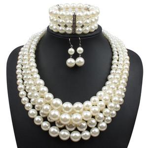 Perlas de imitación rojas Sistemas de la joyería nupcial Mujeres Moda Regalo de boda Clásico Collar Étnico Gargantilla Collar Pulsera Pendiente Conjuntos al por mayor