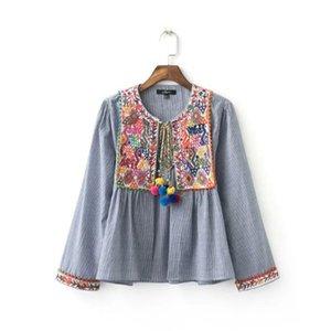 203476 евро мода простой стиль круглый воротник с нежным embporidery с длинным рукавом раздели печати пальто женщин случайные пуловер пальто свободный корабль