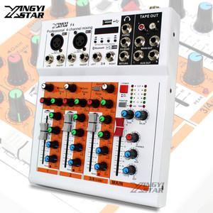 Professional 4 canaux EQ Sound Mixer Console DJ Digital Mixer Audio Bluetooth USB Music Line Entrée 48V Phantom Power Amplifier