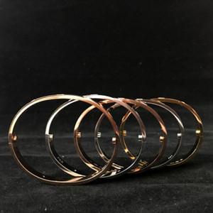 Acero inoxidable pulsera de plata de acero Titanium Parejas blanco cristalino de las pulseras de uñas brazalete brazaletes de tornillo para la moda de las mujeres los hombres aman las joyas