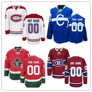 사용자 정의 몬트리올 Canadiens 올드 브랜드 남성 여성 겨울 클래식 클래식 화이트 블루 레드 모든 이름 모든 번호 스티치 하키 저지