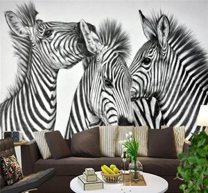 Zebra Pinto Animal Photo Wall Mural Living Walls Wallpaper 3D Papel de pared en relieve papel de parede do desktop Novedad Pinturas