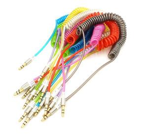 Bahar Aux Kablosu 3.5mm için 3.5mm 1 M 3FT Geri Çekilebilir Uzatma Spiral Streç Kristal AUX Ses Kablosu Cep Telefonu için