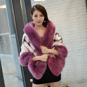 Wholesale-2016 New Fashion Faux  Poncho with fake  fur collar trim Women Hot Selling imitation Fur capes wraps warmer shawls