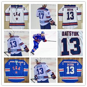 13 Maglia di Pavel Datsyuk KHL, CKA St Petersburg 17 Ilya Kovalchuk KHL Maglie di Hockey su misura Blue White Cheap