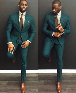 green Custom Slim Fit Mens Business Suit Jacket + Pants + Tie Handsome Men's Suits Spring 2019 Hot Sell Wedding Suits Groom Ebelz Custom