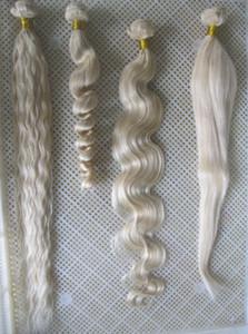 """Atacado # 60 Platinum Blonde Weave Pacotes 7a não processado Virgin Malásia Curly Weave do cabelo 100g Human Remy Hair Extensions 30"""""""
