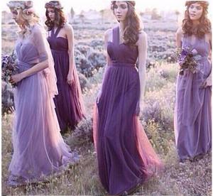 Четыре стиля романтический лаванды платья невесты недоуздок одно плечо шифон для страны свадебная горничная платья свадебные платья на заказ
