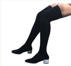 2017 유럽의 겨울 부츠 무릎 신축성 얇은 여성 하이힐 라운드 두꺼운 모든 일치하는 부츠 무료 배송