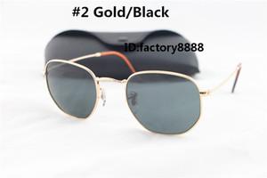 Alta Qualidade Da Moda Hexagonal De Metal Óculos De Sol Para Homens Das Mulheres Irregular Óculos de Sol Preto Espelho 51mm Lente De Vidro Com Melhor Marrom Casos