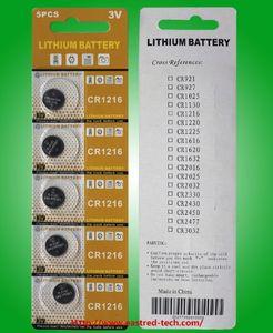1000PCS (200cards) مصنع الجملة بطاريات الخلايا زر CR1216 3V ليثيوم للساعات للتحكم عن بعد مفتاح السيارة