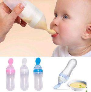 Säuglingsbaby-Silikagel-Saugflasche mit Löffel-neugeborenem Kleinkind-Nahrungsergänzungsmittel-Reis-Getreide füllt Milch-Zufuhr ab