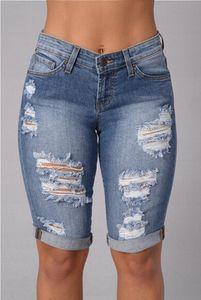 Longueur au genou déchiré Jeans pour les femmes 2016 Hot Summer Punk trous Denim Shorts Jeans Taille Haute Sexy Midi Taille Dsitressed Jeans