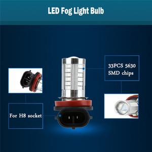 100PCS LOT 5630 33-SMD 850LM LED Car Fog Light Lamp Bulb H8 Socket Foglight Red White Amber