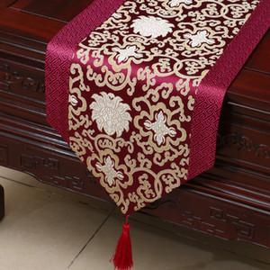 Longitud corta flor feliz corredor de tabla Patchwork de seda de lujo Brocade mantel de té Mesa de comedor de calidad superior mantel individual 150x33 cm