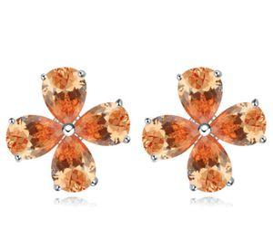 Earrings Studs Fashion Women Luxury High Quality Zircon Platinum Plated Flowers Earrings Jewelry Wholesale Drop Shipping TER026