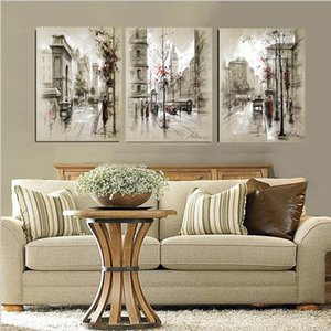 3panels Dipinti ad olio a mano pura Decorazioni per la casa moderna Pittura su tela astratta Retro City Street Landscape