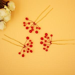 Accesorios nupciales baratos Crystals Red Hair Sticks 8 cm Longitud 4 cm Ancho nupcial Headpiece Clip