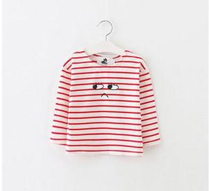 2016 spring and autumn fashion children's wear. Children's stripe set head t-shirt. Cartoon printing long sleeve dress coat.T-shirts.Tees.