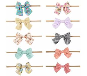 Nuevos niños hechos a mano arco de las vendas Dot Strip Nylon Ambiental Hairwear Moda Soft Girls Boutique Accesorios para el cabello