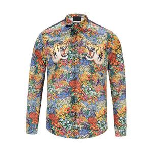 Europa y los Estados Unidos tarjeta de marea de comercio exterior floral impresión en 3D camisa de manga larga de los hombres camisa de la rebeca de los hombres camiseta
