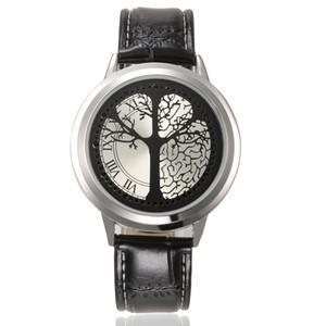 Personalidad creativa Touch Screen LED Relojes Unsex Fashion Leather Reloj de pulsera en forma de árbol Dial Blue Light Display Time Watch