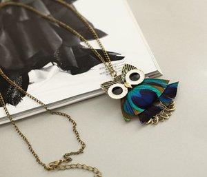 30% de descuento más popular colgante de collar de la pluma del búho de Nueva pluma de pavo real pluma de la manera retro del collar de la joyería de la porción 6PCS envío