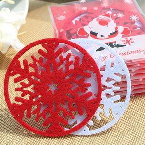 Atacado-Merry Christmas 10pcs / lot flocos de neve Cup Mat Decorações de Natal Dinner Party Bandeja Pad para Home Decor 2017 Hot Sale