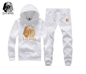 Los hombres de la moda de hip hop traje de sudadera deportivo de manga larga conjunto con capucha hombres 2017 New algodón gruesas sudaderas con capucha últimos reyes marca de ropa de la calle