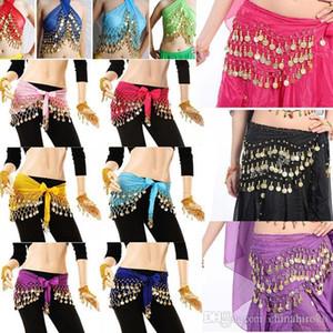 Танец живота пояса 10 цветов 3 строки 128 монет Египет хип юбка шарф обернуть для танца сценический костюм