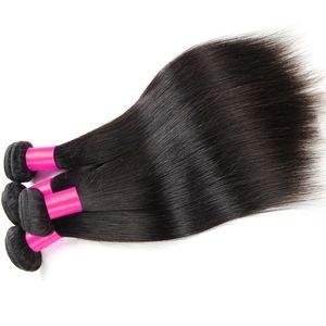 3/4 7A Gran calidad Productos para el cabello de color rosa Sedoso Pelo virgen peruano Recto Sin procesar Extensiones rectas peruanas Cabello teñible