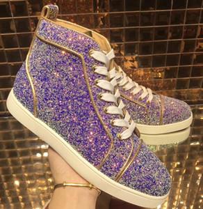 Sapatos De Couro De Outono / Inverno Glitter Sapatos, Alta Top Sapatos de Fundo Vermelho, de Alta Qualidade Casual Walking Lover Design Lazer Tamanho Plana 35-46