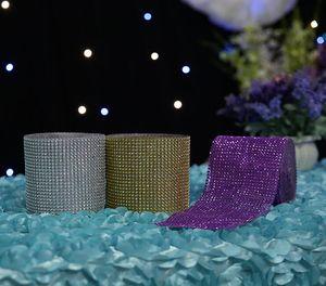 Decorazione di cerimonia nuziale 10yard / roll di cristallo assetto Wrap scintilla bling nastro sedia fai da te telaio può essere tagliato a qualsiasi lunghezza