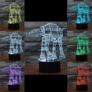 3D Hundeträger Optische Nachtlampe 10 RGB LEDs DC 5V USB Lade 5. Batteriefach mit Touch-Taste Fabrik Großhandel Drop Shipping