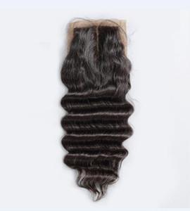 Grade 7A Brésilien 4 * 4 Lâche Vague Soie Base Dentelle Fermeture 100% Non Transformés Complet Doux Cheveux Humains Fermeture Cheveux