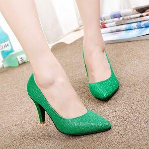 I pacchetti hanno spedito le nuove scarpe a tacco alto a punta fine del 2015 con la sposa in sexy scarpe da sposa con luce verde rossa @ 693