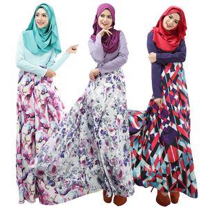 Moda serviço de oração Muçulmana Novas Mulheres Árabes Robes Mangas Compridas Islâmico Étnico Vestuário Moda Impressão Casual Vestido
