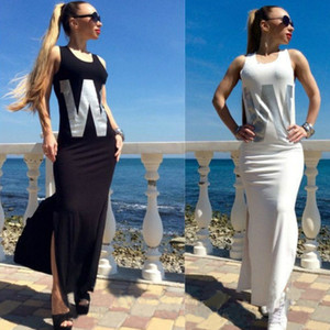 2016 New Summer Dresses Sleeveless Letter Print Sexy Slim Dresses Sheath Side Split Women Dresses Evening Long Vestidos Casual Bodycon Dress
