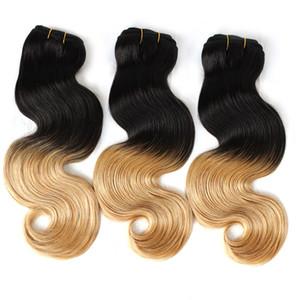 "Gretremy Perulu bir kâğıt oyunu Saç 14 ""-30"" İnsan Saç Dokuma Atkı Ombre Dip Boya İki Ton # T1B / # 27 Renk Saç Uzatma Vücut Dalga 3adet"