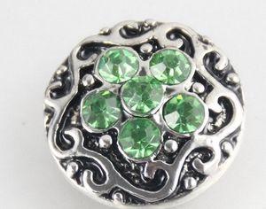 nueva llegada big disount 18mm círculo verde rhinestone botón a presión botón noosa diy jelwey accesorios NOOSA trozos de botón a presión de la joyería