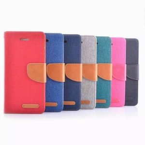Korean MERCURY Double Color Canvas Flip Case Cover For iphone 6 plus Samsung Galaxy S5 S6 Edge with card slots holder stand DHL