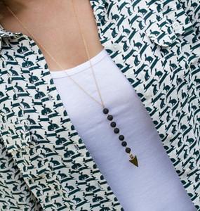 Nueva Roca de Lava grano Flecha Borla Collar Largo Aromaterapia Aceite Esencial Difusor Collares Lava Negro Collares pendientes de Joyería Para Las Mujeres