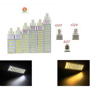 SMD 5050 수평 플러그 실내 램프 조명 E27 G24 G23이 AC85-265V 5W 7W 9W 11W 13W degeree 옥수수 전구 (180)를 주도 LED 조명