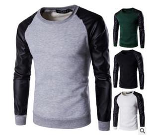 Étranger chaud 2017 New Europe hommes tête en cuir PU couture T-shirt mâle à manches longues pull chandail